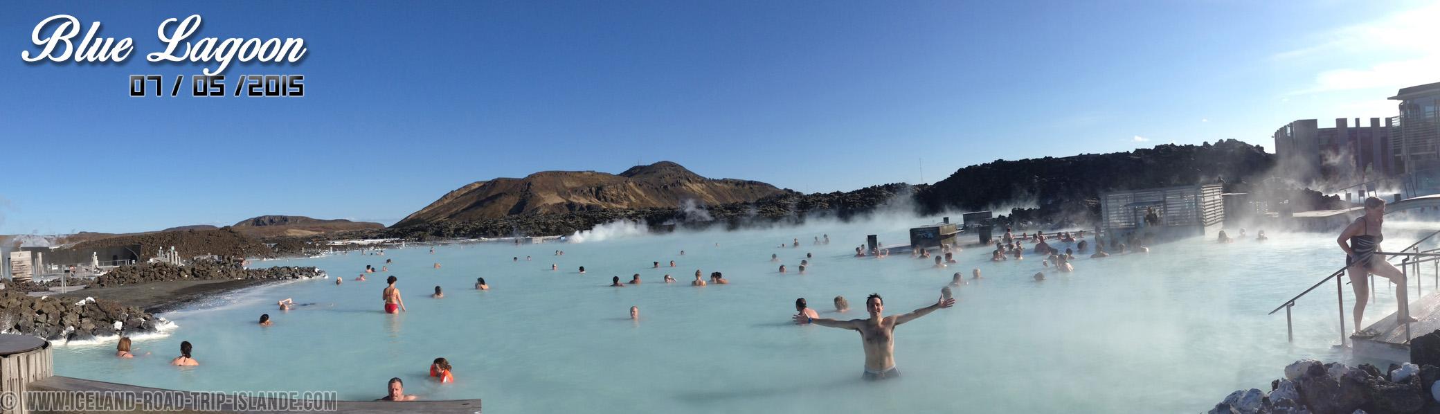 Vision panoramique de la source d'eau chaude du Blue Lagoon