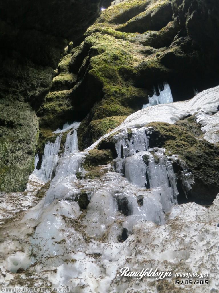Le premier Orgue de glace dans la brèche de Rauðfeldsgjá