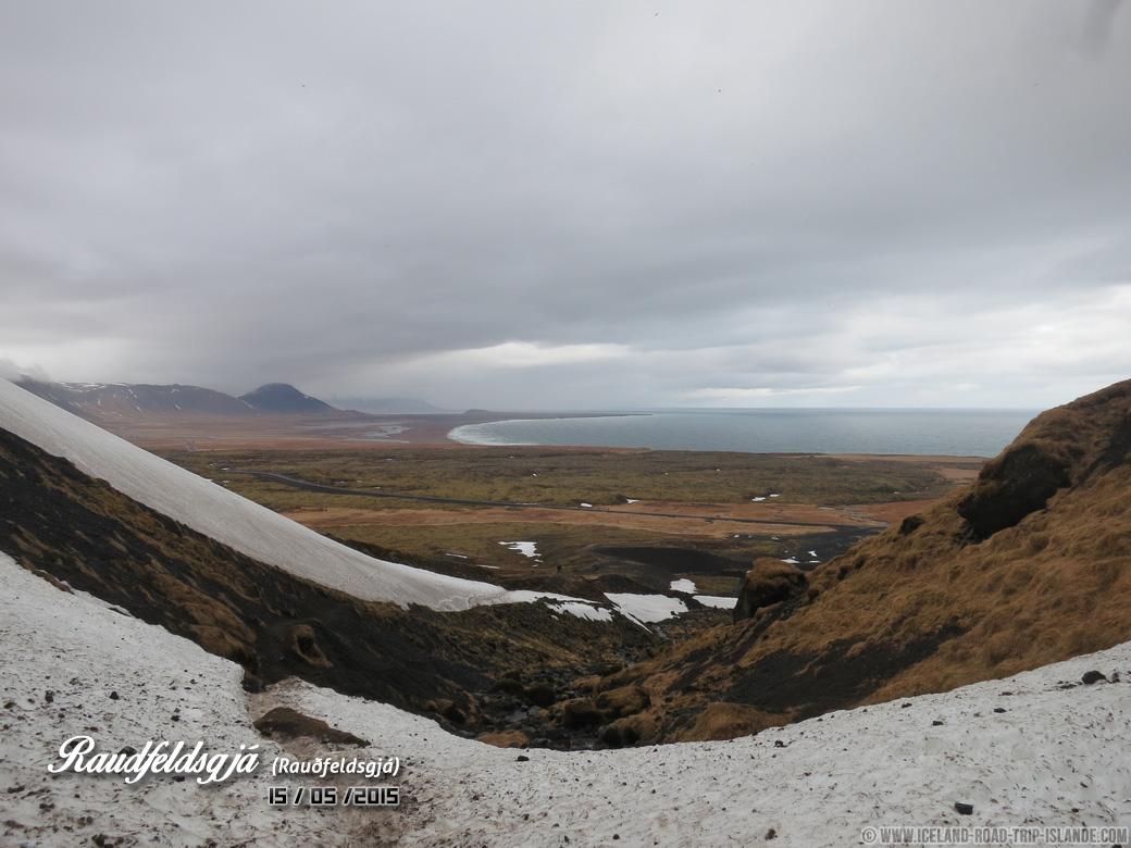 La vue sur la vallée en sortant de Rauðfeldsgjá